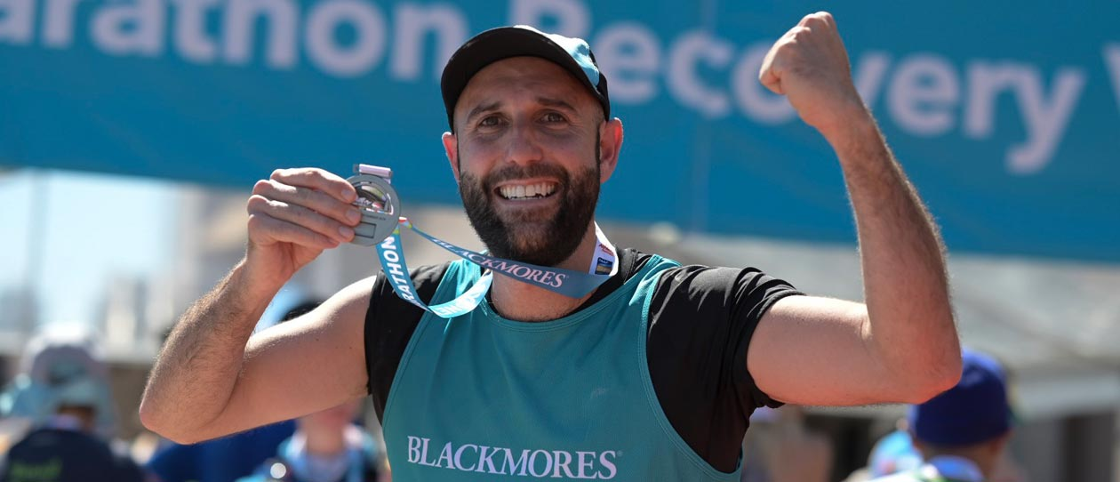 Celebrating the finish of the 2019 Blackmores Sydney Marathon