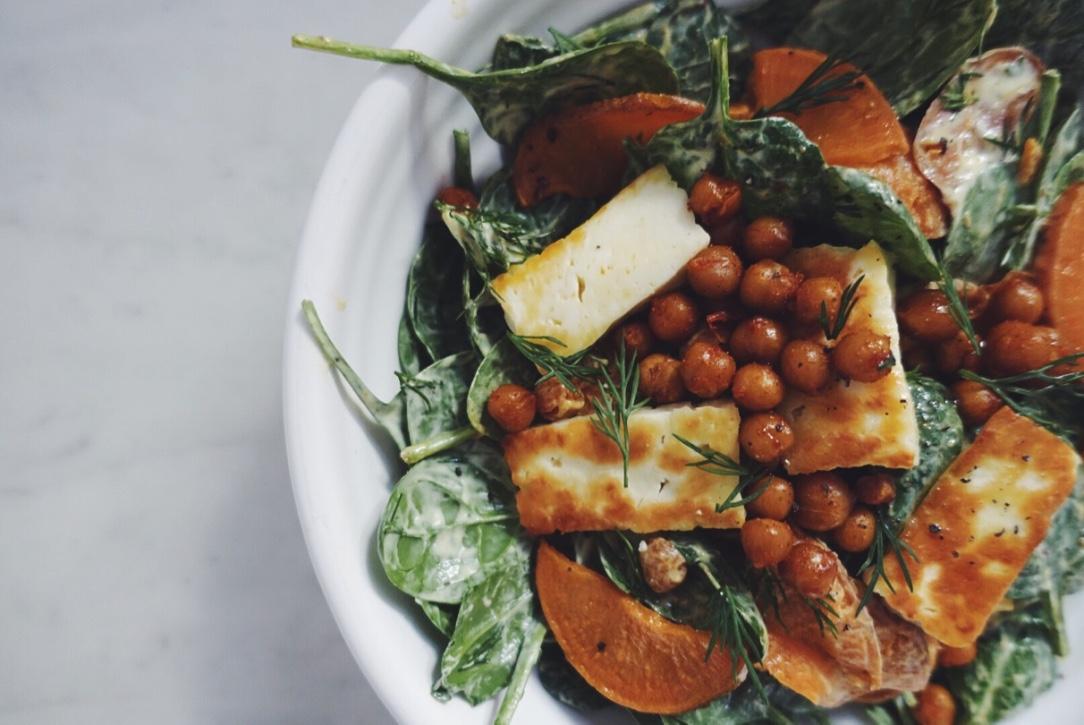 Sweet Potato Haloumi Amp Smoky Chickpea Salad With Golden