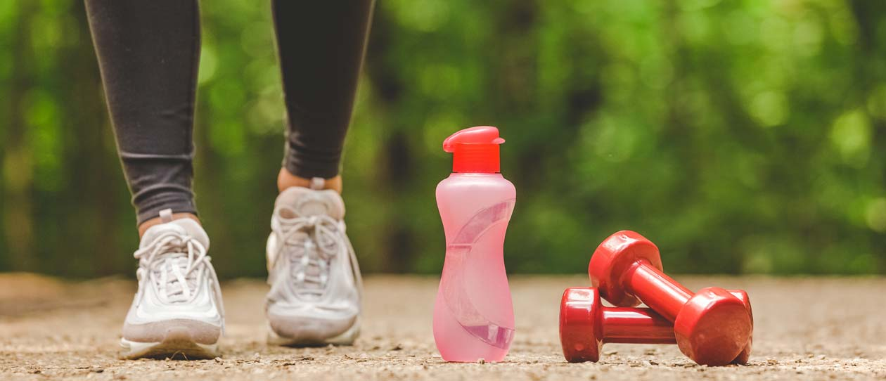 Walking water bottle and hand weights