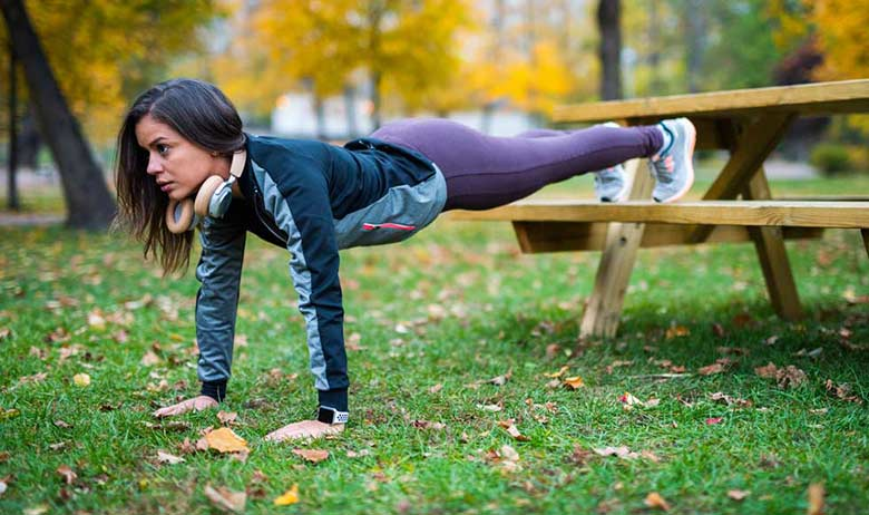 Park bench plank