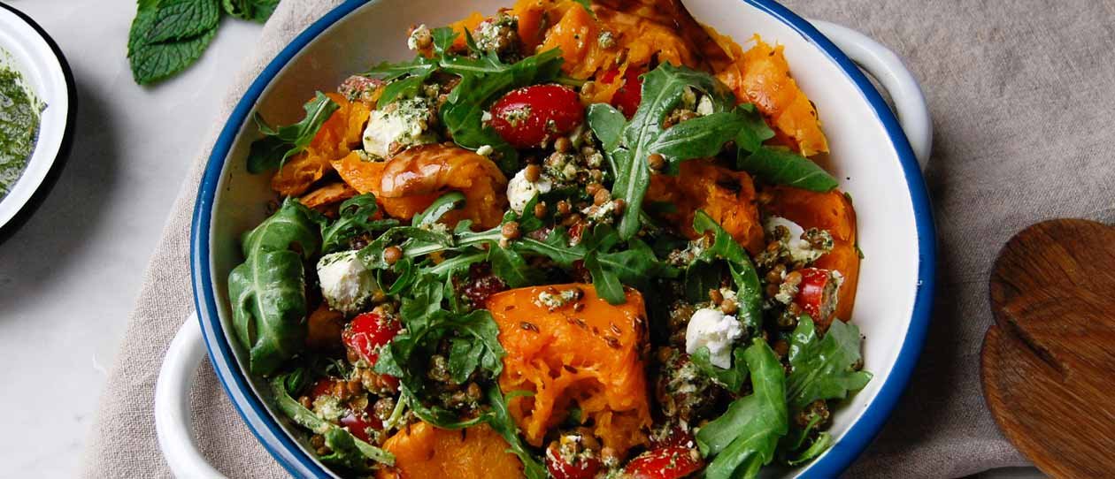 Herby lentil and pumpkin salad