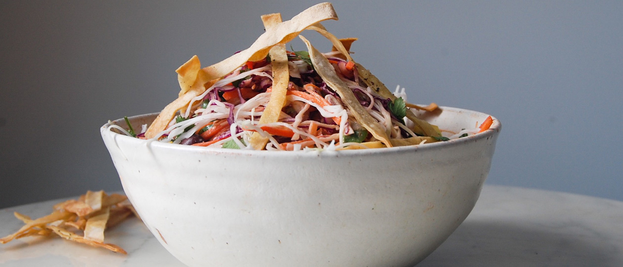 Mexican Slaw with tahini chipotle dressing
