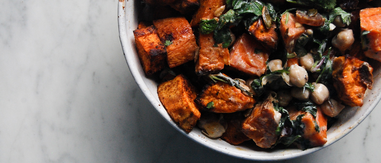 Sweet potato, chickpea & date salad with honey yoghurt dressing
