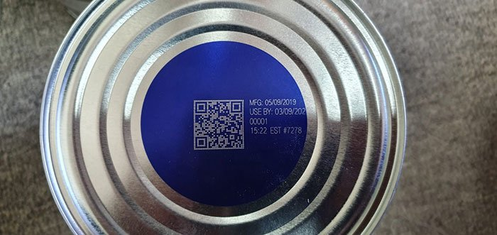 QR code on the bottom of Blackmores Infant Formula tin