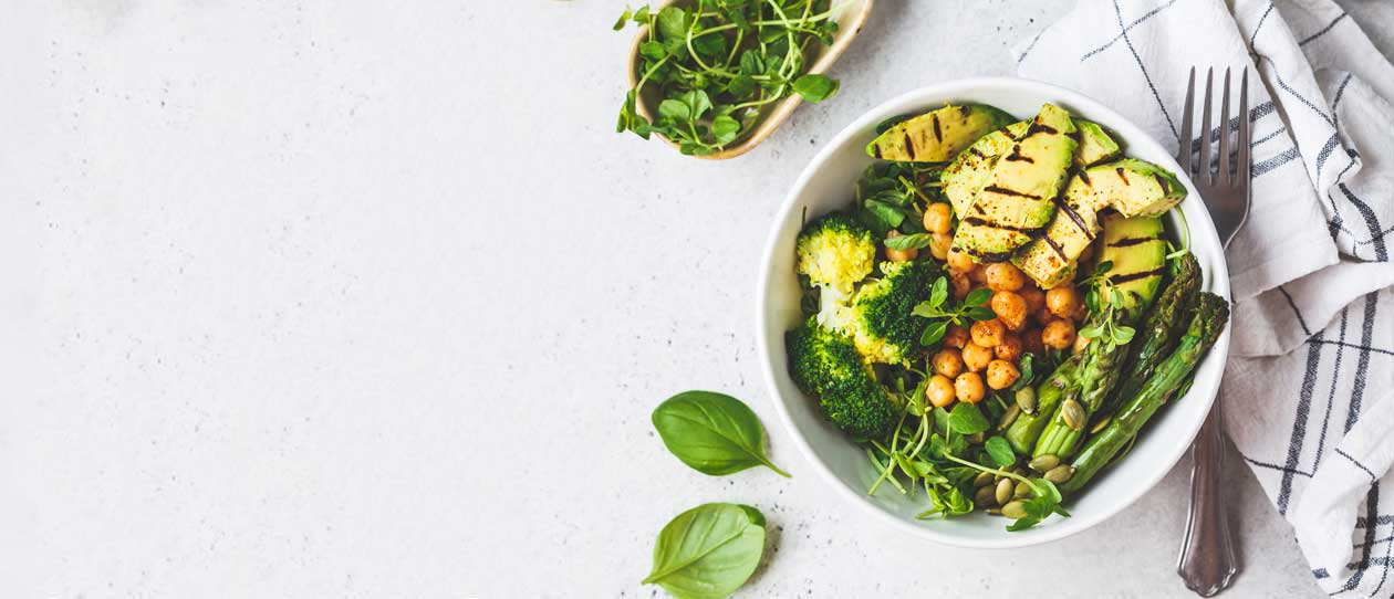 Healthy Buddha bowl with asparagus and chickpeas