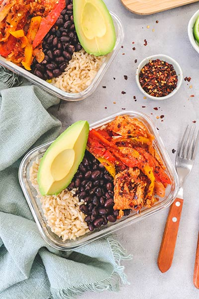 Chicken fajita bowls with brown rice an easy meal prep lunch