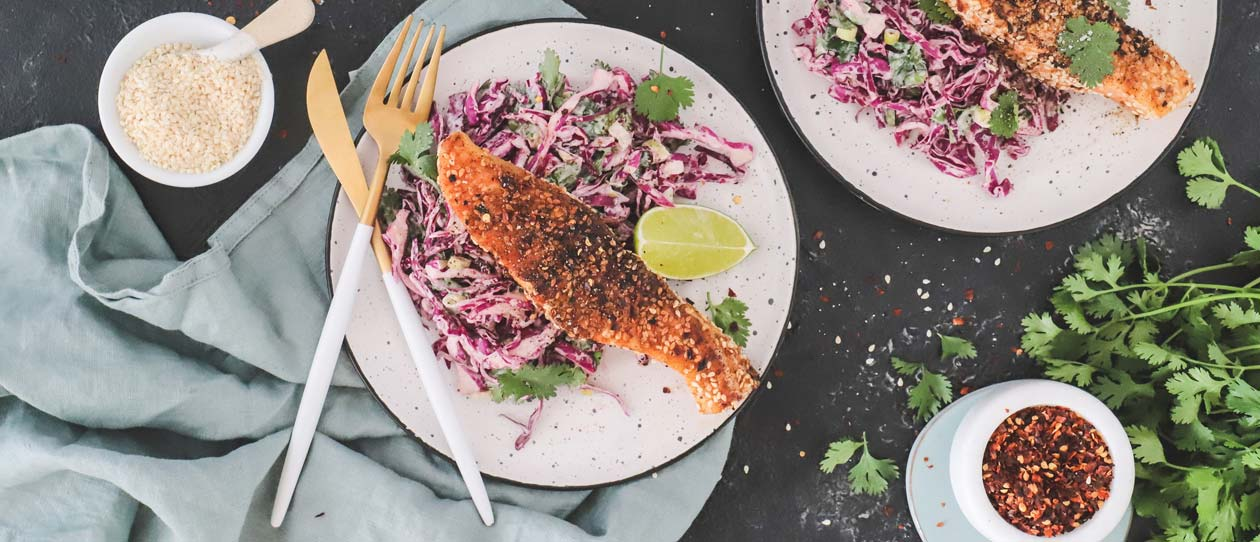 Chilli crusted salmon and crunchy slaw