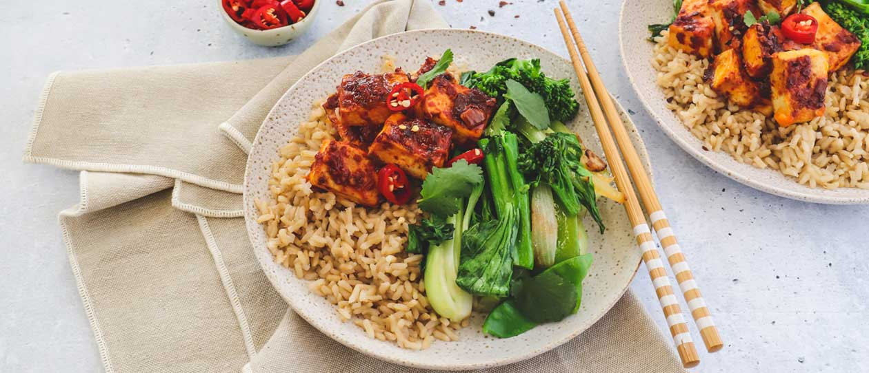 Ginger greens and chilli baked tofu