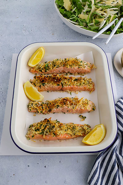 Parsley parmesan crumbed salmon served with a citrus dressing