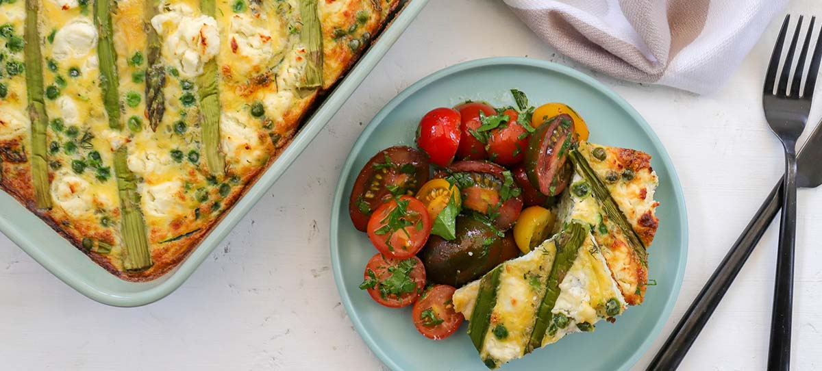 Super green frittata with marinated tomato salad