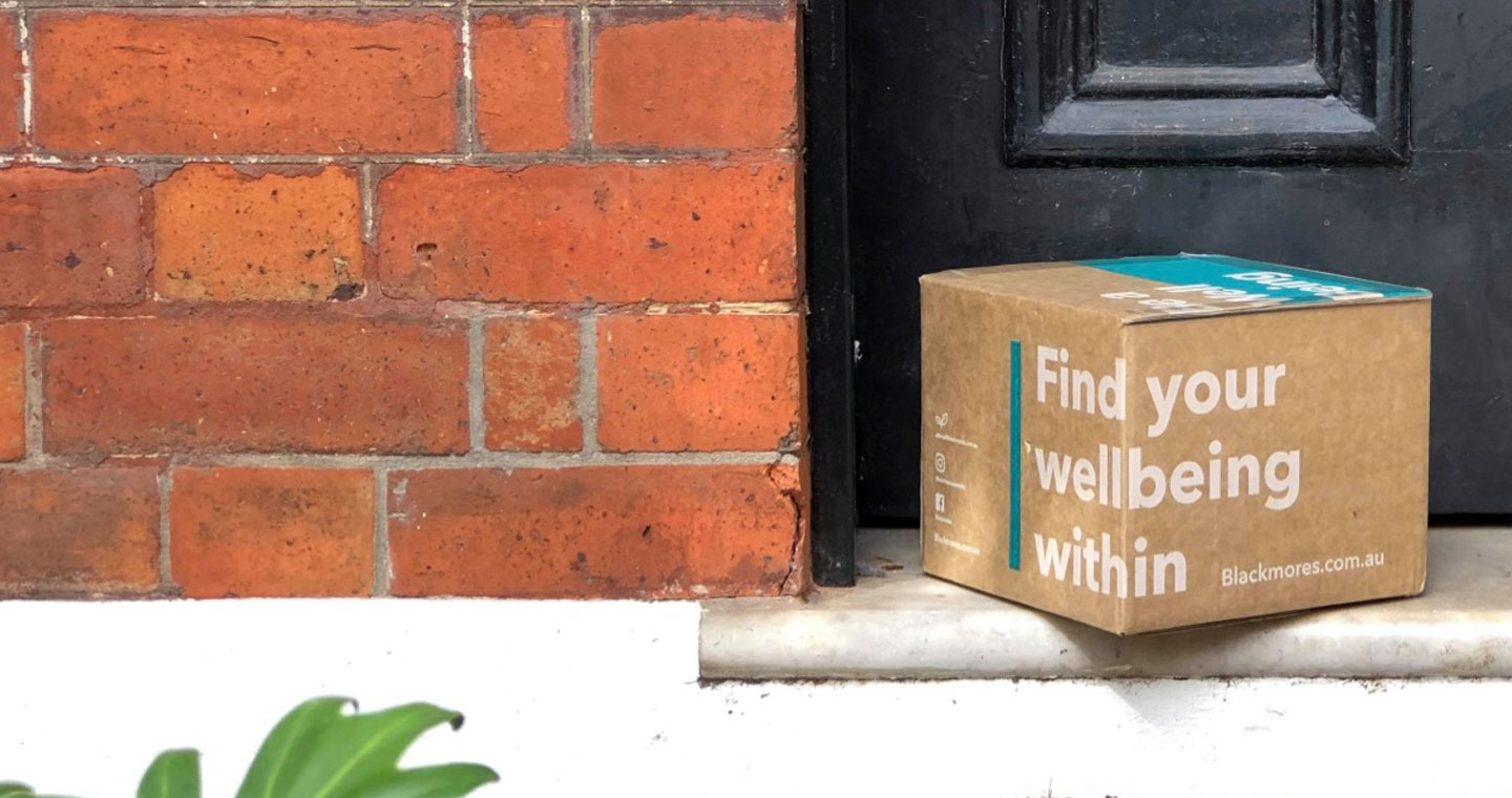 Blackmores online shopping box on a doorstep