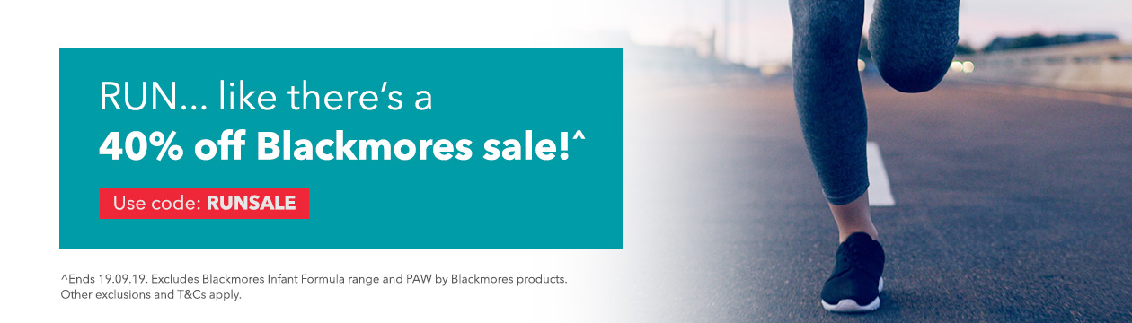 Get 40% off Blackmores products use code RUNSALE