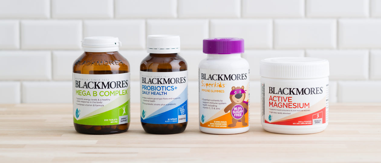 Blackmores products on a timber kitchen bench