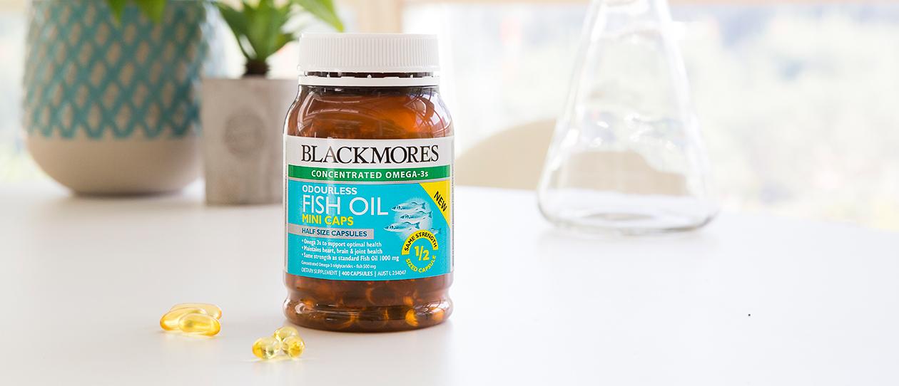 Blackmores odourles fish oil mini caps blackmores for Fish oil daily dose