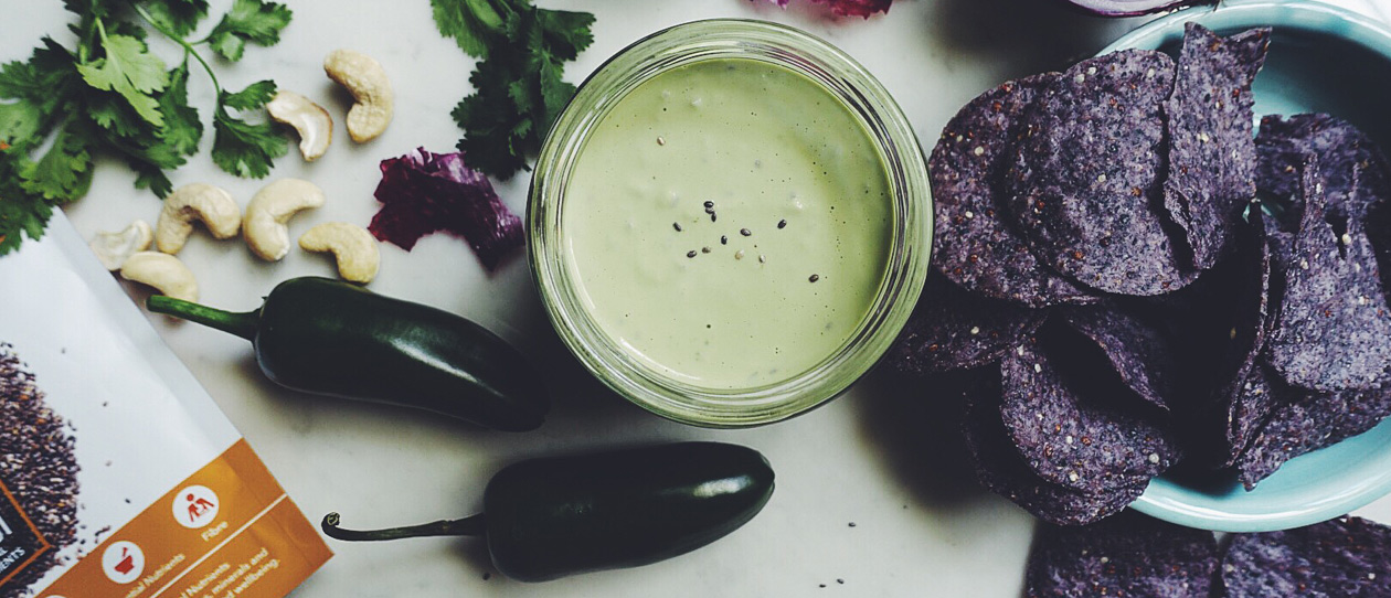 Cashew, chia and jalapeno sauce