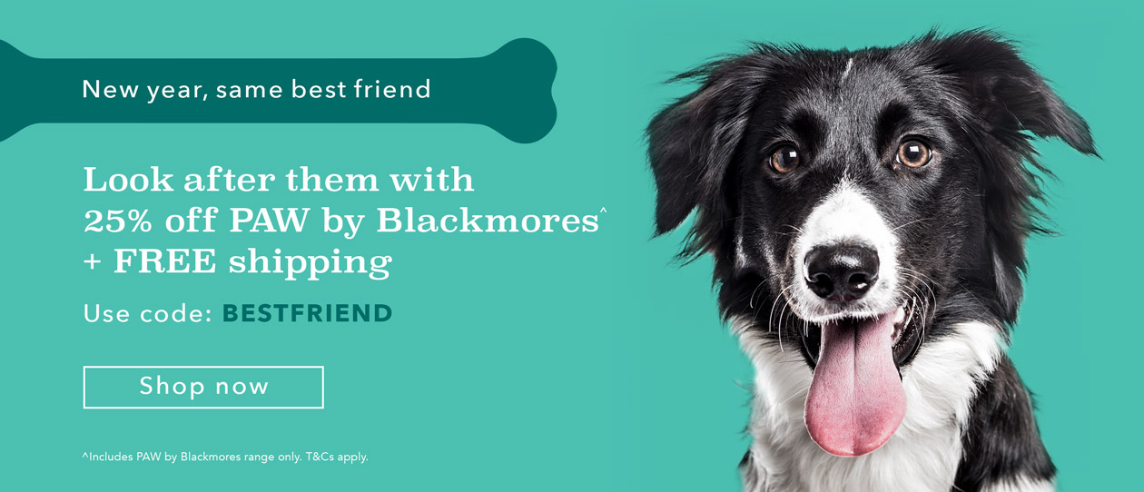 25% off + FREE shipping for all PAW by Blackmores products. Use code BESTFRIEND