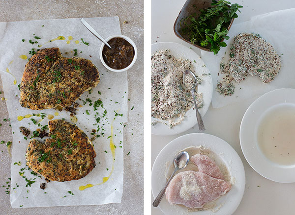 Making herb-crusted chicken