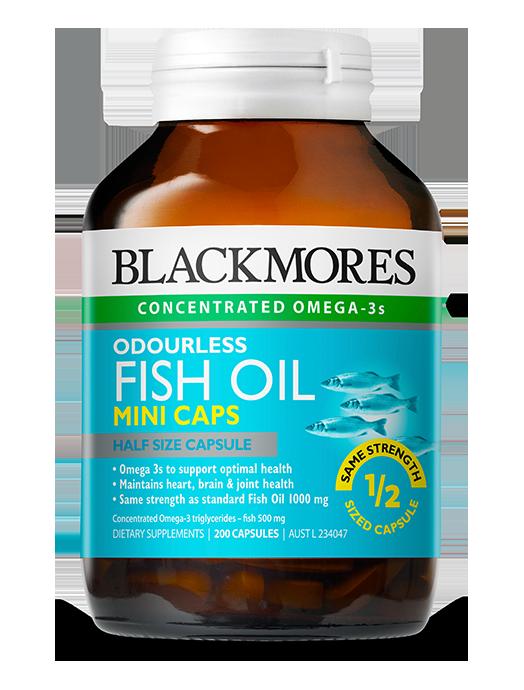 Blackmores odourles fish oil mini caps blackmores for Fish oil benefits for men